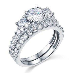 14k Gold Three-Stone Engagement Ring Wedding Set